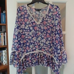 Living Doll sheer floral tunic